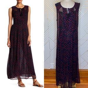 Lucky Brand Watercolor Ikat Maxi Dress
